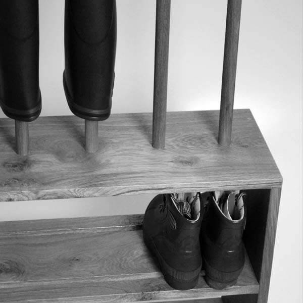 Oak Shoe And Welly Boot Rack