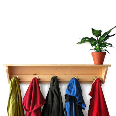 Wooden coat racks with coat hooks in various sizes