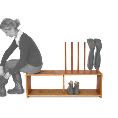 Oak boot and shoe rack with seat for 3 pairs of wellingtons and shoes