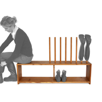Oak boot and shoe rack with seat for 4 pairs of wellingtons and shoes