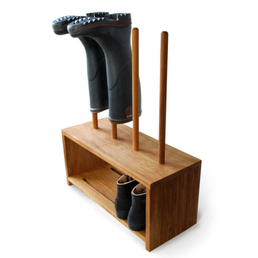 Oak Welly And Shoe Rack. Storage for 2 pairs of wellies and shoes