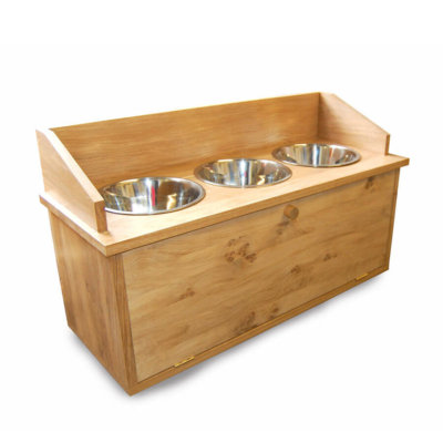 Oak dog feeder cabinet with 3x bowls