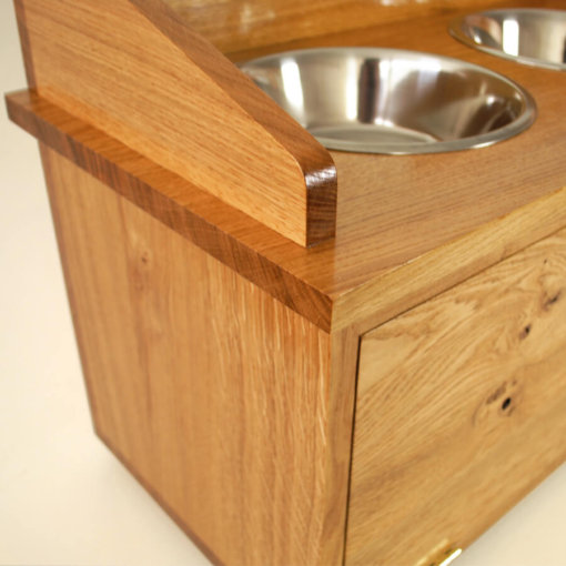 oak dog feeder cabinet