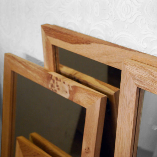 Oak framed mirrors with character grain