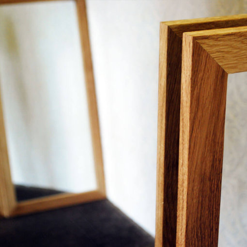 Oak framed mirror in detail