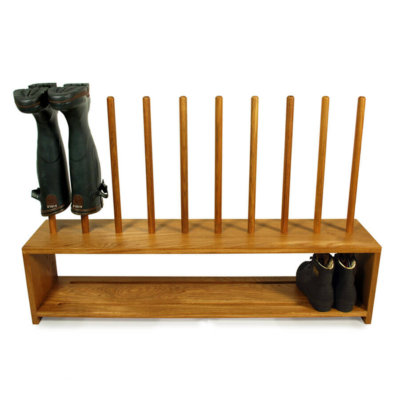 Oak Shoe and welly Rack for 5 pairs of boots and shoes