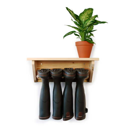 Wooden Wall Hanging Welly Rack for 2 pairs of boots