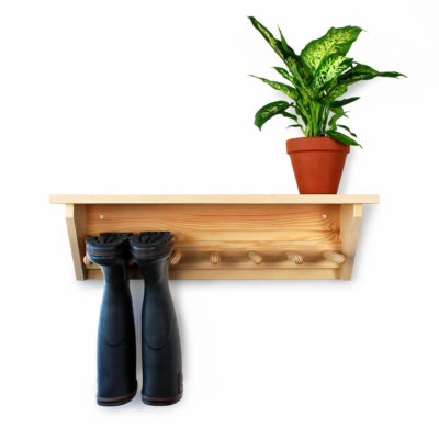 Pine Wall Hanging Welly Rack for 3 pairs of wellingtons