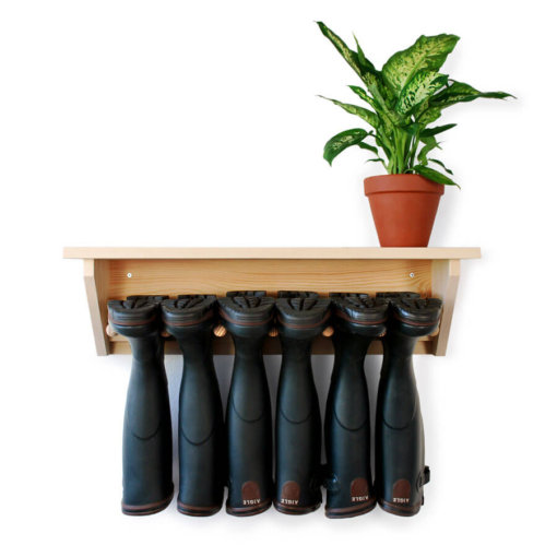 Wooden Wall Hanging Welly Rack for 3 pairs of boots