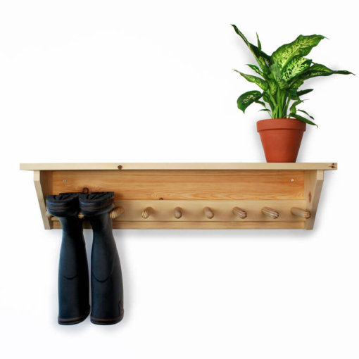 Pine Wall Hanging Welly Rack for 4 pairs of wellingtons