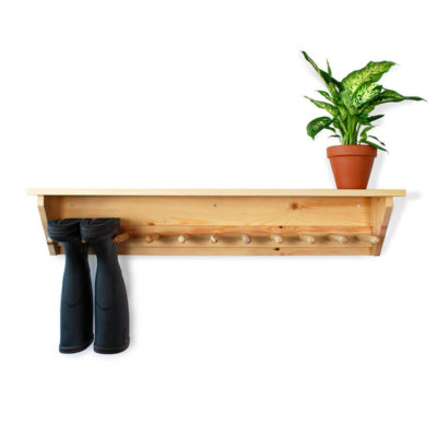 Pine Wall Hanging Welly Rack for 5 pairs of wellingtons
