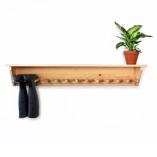 Pine Wall Hanging Welly Rack for 6 pairs of wellingtons