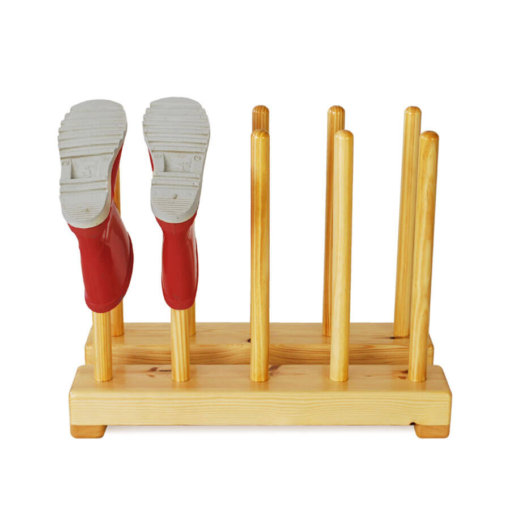 Kids wooden welly rack for 5 pairs of childrens boots