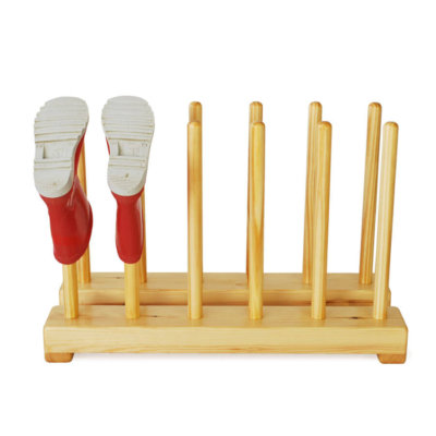 Kids wooden welly rack for 6 pairs of childrens boots