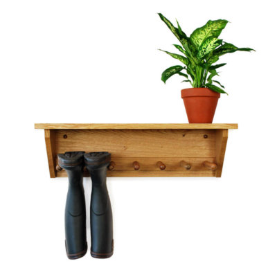 Oak Wall Hanging Welly Rack for 3 pairs of Wellingtons