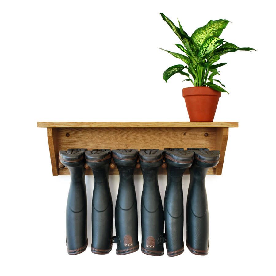 Oak Wall Hanging Welly Rack for 3prs of