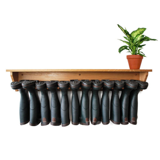Oak Wall Mounted Welly Rack for 6 pairs of boots