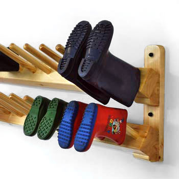 Wall hanging welly boot racks for schools