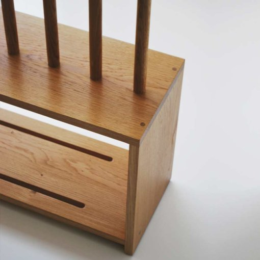 Oak Welly and Shoe Rack with seat in detail