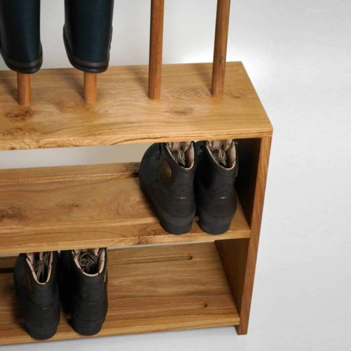 Oak welly and shoe rack with double shelf