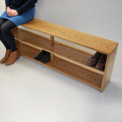 Oak Shoe bench with double shoe shelf shown in detail