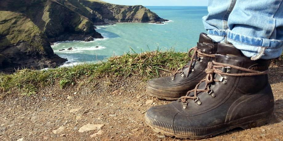 Walking in Viking Dryboot walking boots at Port Isaac