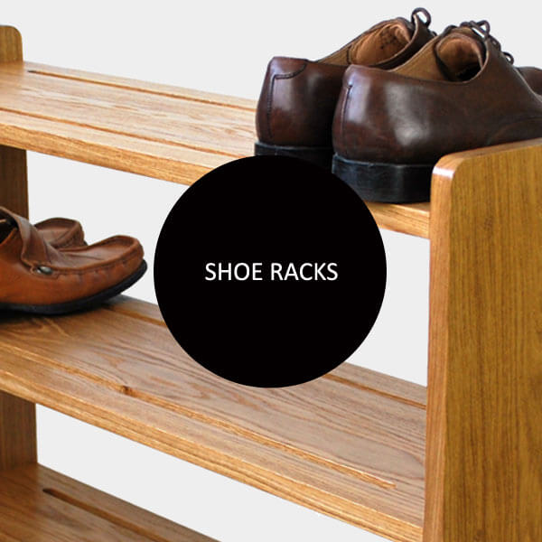 Shoe racks in solid Oak and Pine