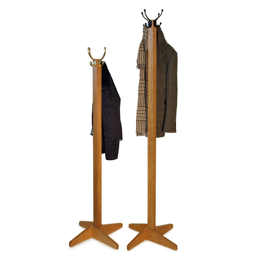 7915b16e5bb Solid Oak Coat Stands in a choice of sizes with brass or wrought iron hooks